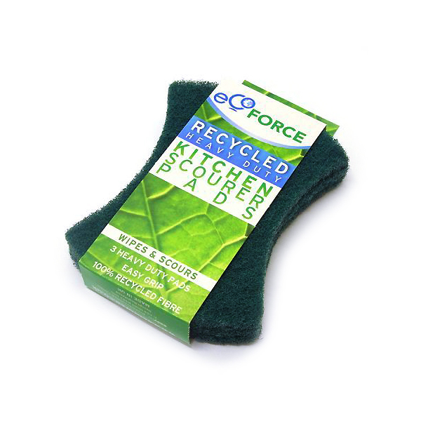 EcoForce Recycled Plastic Heavy Duty Kitchen Scourer Pads (3 pcs)